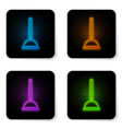 glowing neon rubber plunger with wooden handle vector image
