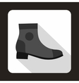 Grey boot with heel icon flat style vector image vector image