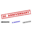 grunge 50 anniversary scratched rectangle stamps vector image