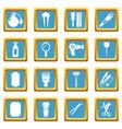 hairdresser icons set sapphirine square vector image vector image