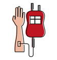 hand human with bag blood donation icon vector image vector image