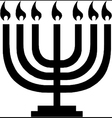 Hanukkah menorah with candles vector image vector image