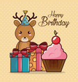 happy birthday card with cute reindeer vector image
