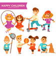 happy children playing outdoor games icons vector image vector image