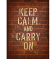 keep calm brick wall vector image vector image