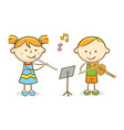 kids playing flute and violin vector image vector image