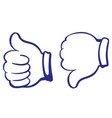 like and dislike thumbs up sign icon vector image
