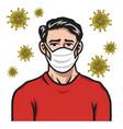 man wearing face mask anti coronavirus covid19 vector image