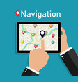 map in tablet hand hold phone with gps navigation vector image