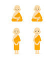 monk cartoon set peaceful isolated white vector image vector image