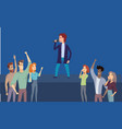 music performer standing on stage singing for fans vector image vector image