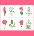 pink flowers on greeting papercard bouquet vector image
