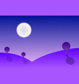 purple night landscape with hills trees and a vector image vector image
