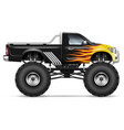 realistic black monster truck vector image