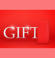 red gift box on red background vector image vector image