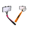 selfie stick monopod with smartphone making vector image