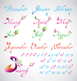 Set of seasons months calligraphic design elements vector image vector image