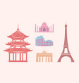sfamous sights and attractions on travel stickers vector image vector image