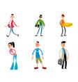 six trendy funny cartoon characters vector image vector image