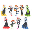 skeletons in mexican traditional costumes dancing vector image vector image