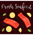 still life top view flat lay with red fish lemon vector image