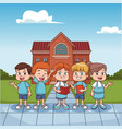 students kids outside school building vector image