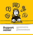 support center concept customer service chat web vector image vector image