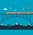 train on bridge over mountains night vector image vector image