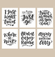 travel slogan set hand drawn poster vector image