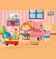 two girls playing in living room full of toys vector image vector image