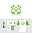 wellness logo design with business card and t vector image vector image