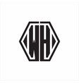 wh logo monogram with hexagon line rounded design vector image vector image