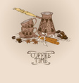 with vintage coffee turk copper and cups vector image vector image