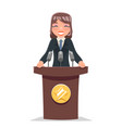 woman politician tribune performance female vector image