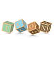 Word ICON written with alphabet blocks vector image vector image
