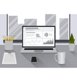 workplace flat style workplace modern design vector image vector image