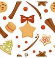 xmas gingerbread cookies with cinnamon pattern vector image
