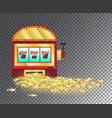 slot machine with a pile of gold coins vector image