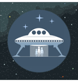 Digital with alien coming from a space ship vector image