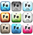 A button with the chemical element Iron vector image vector image