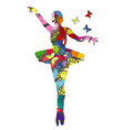 Abstract ballerina patterned in colored