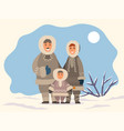 arctic family standing on snowy landscape vector image