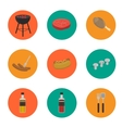 Barbecue grill round icons set vector image vector image