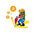 bitcoin green happy vector image