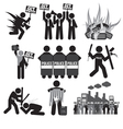 Black Symbol Protest Icon Set vector image