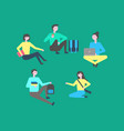 campus students on break isolated people vector image