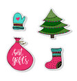 cartoon christmas stickers set doodles isolated vector image