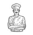 chef man line art sketch vector image