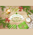christmas top view background vector image vector image