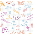 Colorful beach doodles vector image vector image
